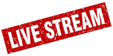 live stream sign: Square grunge red live stream stamp