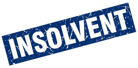 insolvent: square grunge blue insolvent stamp Illustration