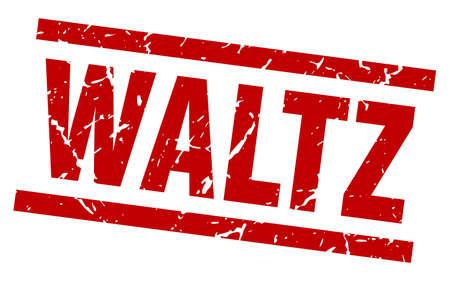square grunge red waltz stamp Illustration