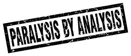 square grunge black paralysis by analysis stamp Illustration