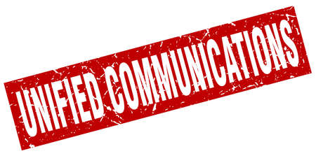 square grunge red unified communications stamp