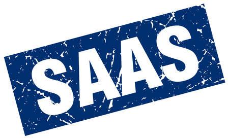 saas: square grunge blue saas stamp Illustration
