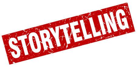 Square grunge red storytelling stamp