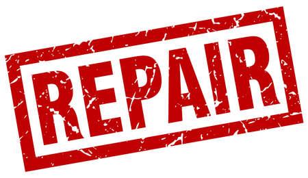 Square grunge red repair stamp Illustration