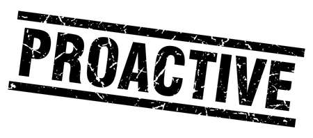 proactive: Square grunge black proactive stamp Illustration