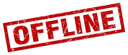 offline: Square grunge red offline stamp