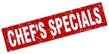 specials: square grunge red chefs specials stamp Illustration