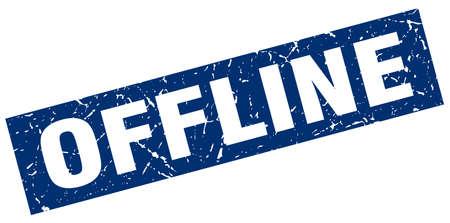 offline: square grunge blue offline stamp