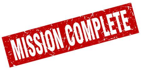 赤い正方形のグランジ ミッション完了スタンプ  イラスト・ベクター素材