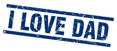 square grunge blue i love dad stamp
