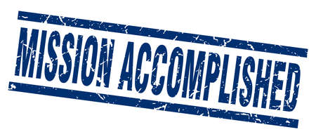 accomplish: square grunge blue mission accomplished stamp