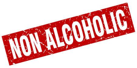 non: square grunge red non alcoholic stamp