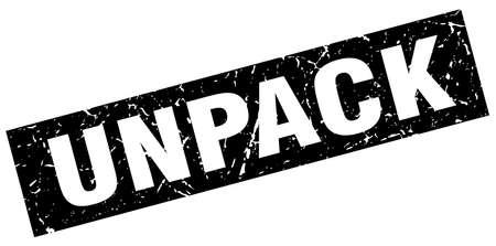 to unpack: square grunge black unpack stamp