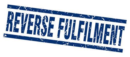 fulfilment: square grunge blue reverse fulfilment stamp