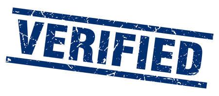 verified: square grunge blue verified stamp