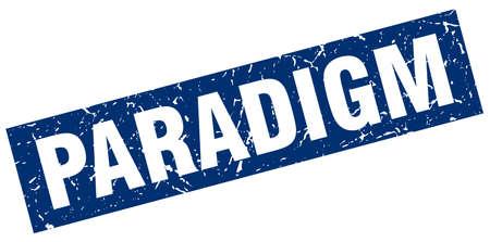 paradigm: square grunge blue paradigm stamp Illustration
