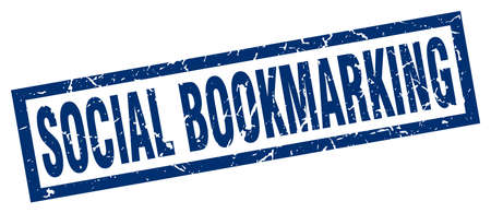 bookmarking: square grunge blue social bookmarking stamp