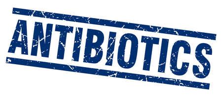 antibiotics: square grunge blue antibiotics stamp