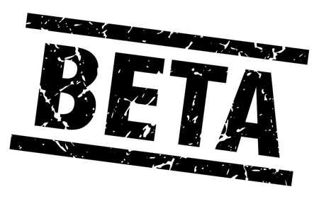 square grunge black beta stamp