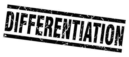 differentiation: square grunge black differentiation stamp Illustration