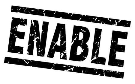 enable: square grunge black enable stamp Illustration