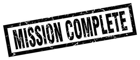 accomplish: square grunge black mission complete stamp