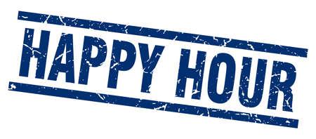 square grunge blue happy hour stamp Vector Illustration