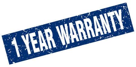 one year warranty: square grunge blue 1 year warranty stamp