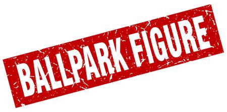 ballpark: square grunge red ballpark figure stamp