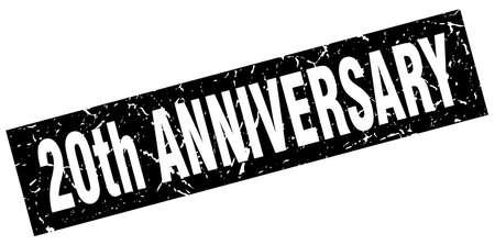 20th: square grunge black 20th anniversary stamp Illustration