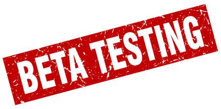 square grunge red beta testing stamp
