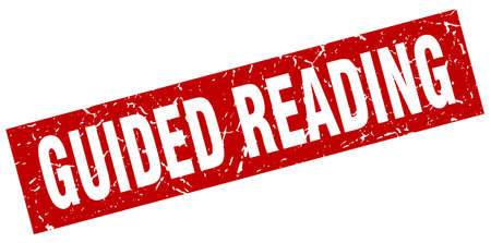 square grunge red guided reading stamp Illusztráció