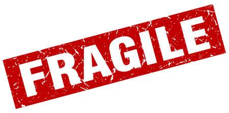 square grunge red fragile stamp