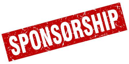 square grunge red sponsorship stamp