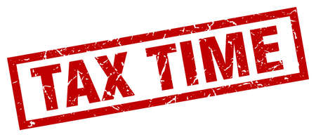 tax time: square grunge red tax time stamp