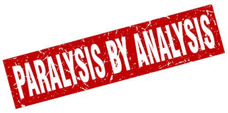 square grunge red paralysis by analysis stamp