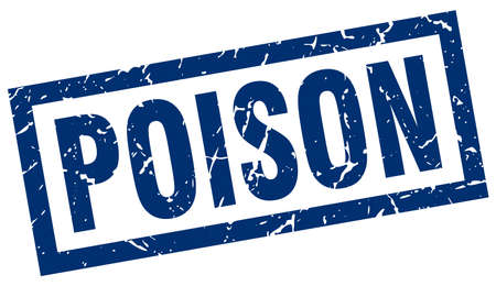 poison: square grunge blue poison stamp