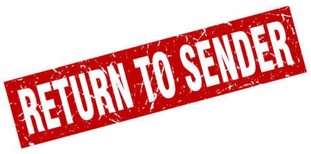 square grunge red return to sender stamp Illustration