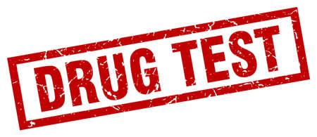 square grunge red drug test stamp