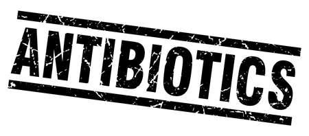 antibiotics: square grunge black antibiotics stamp