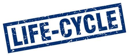 square grunge blue life-cycle stamp Illustration