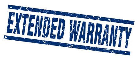square grunge blue extended warranty stamp