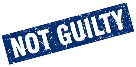 正方形のグランジ青い無罪スタンプ