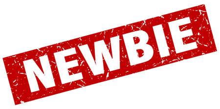 newbie: square grunge red newbie stamp