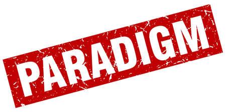 paradigm: square grunge red paradigm stamp