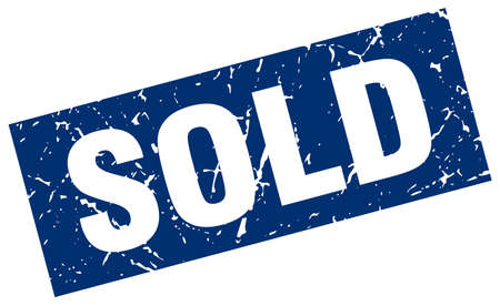 square grunge blue sold stamp