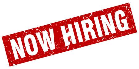 now hiring: square grunge red now hiring stamp Illustration