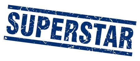 superstar: square grunge blue superstar stamp