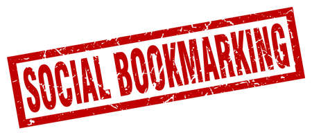 bookmarking: square grunge red social bookmarking stamp