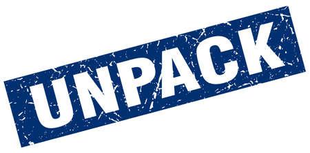 to unpack: square grunge blue unpack stamp Illustration